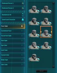 WildStar character customization UI 2
