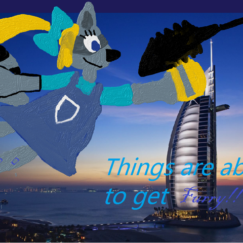 Another promotional poster for the game: Reena Raccoon is grappling up to the top of Burj Kahlifa to BUTTERFLY'S Arabian Headquarters.