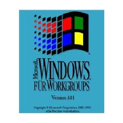 Microsoft Windows for Workgroups 3.11 logo screen (German) (1993-2001).