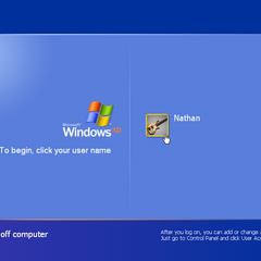 Windows XP log in screen.