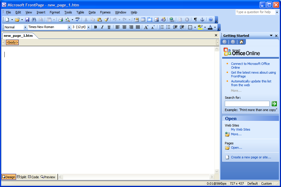 New Microsoft FrontPage 2003 Software