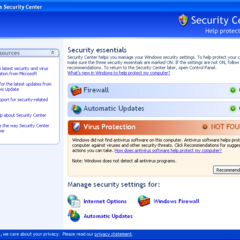 Windows Security Center program screen.