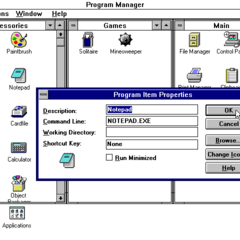 Windows 3.1 Program Item Properties Editor.