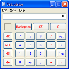 The Calculator as seen in Windows XP.
