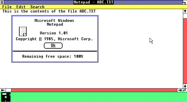 File:Microsoft Windows 1.01 Notepad with open file and about box.png
