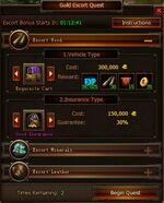 Escort Quest Options Screen