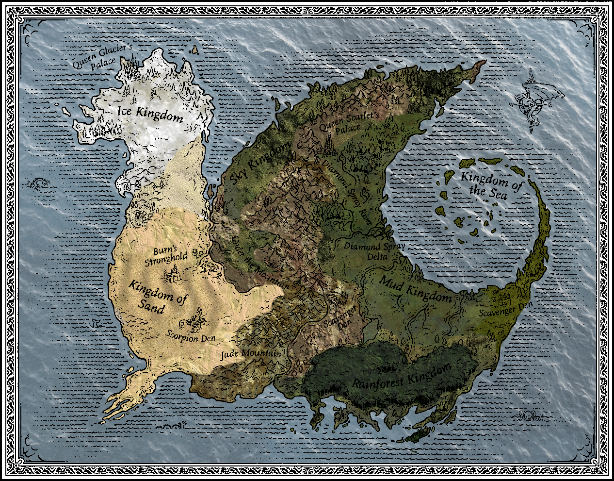 Image   Pyrrhia map Helio.png | Wings of Fire Fanon Testing Wikia