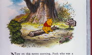 Winnie the Pooh is at his thoughtful spot