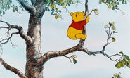 Winnie the Pooh climbs up higer in the honeytree