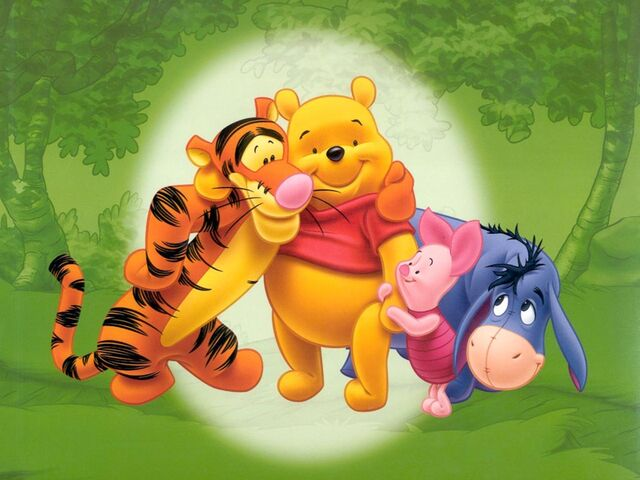 File:Pooh Wallpaper - Pooh, Tigger and Eeyore in Forest.jpg