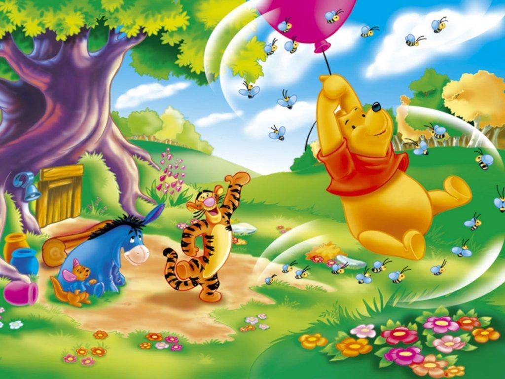 Image  Pooh Wallpaper  Pooh Riding Balloonjpg  Winniepedia