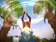 Nex utilizing his weapon