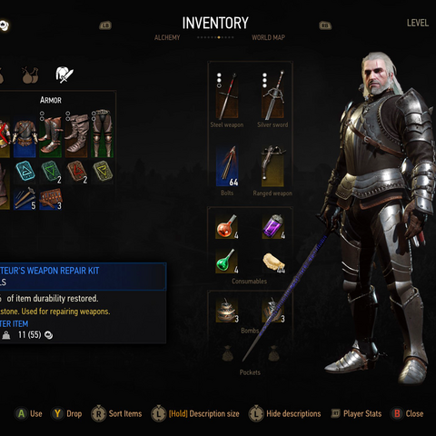 Redesigned Inventory panel