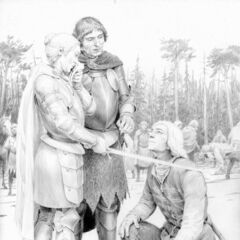 Meve knighting Geralt in  (newer Russian edition)