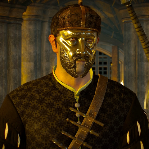 Quinto wearing mask depicting King <a href=