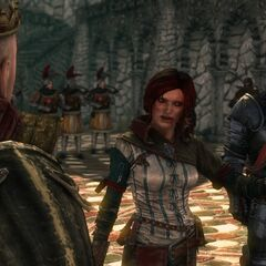 Triss during the deliberations in Loc Muinne in <i>The Witcher 2</i>