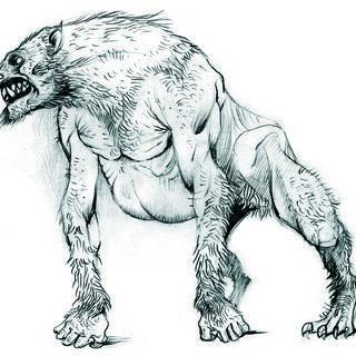 Schizzo del licantropo da cui è derivato il lupo mannaro finale