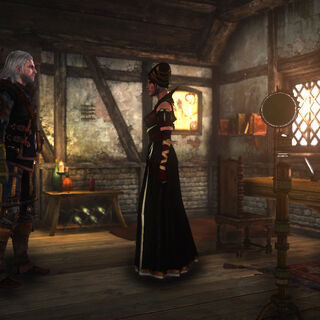 Síle talking to Geralt in room