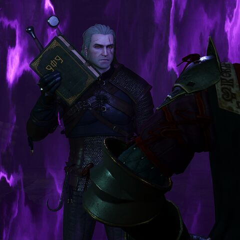 Geralt with The Grimoire in hand