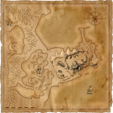 Map of the old manor in <i>The Witcher</i> computer game.
