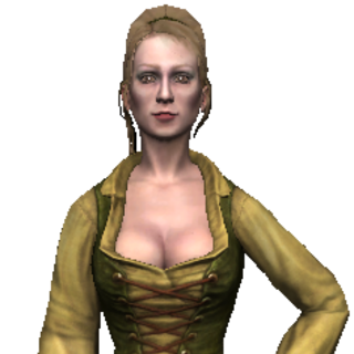 peasant girl in green and yellow