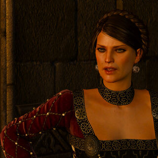 <b>Birna</b> hovořící s Geraltem z Rivie.