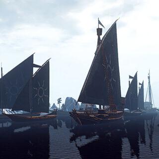 Флот Нільфгарду перед атакою на Скелліге