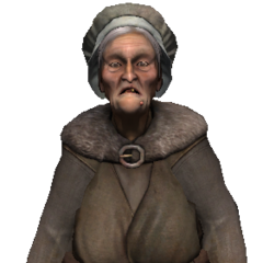 Old townswoman who wants pork