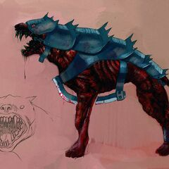 Concept drawing of the armoured hound's muzzle