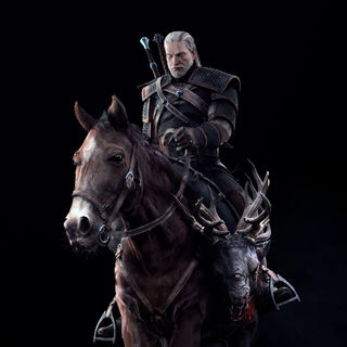 The Witcher 3 full render Geralt and Roach.