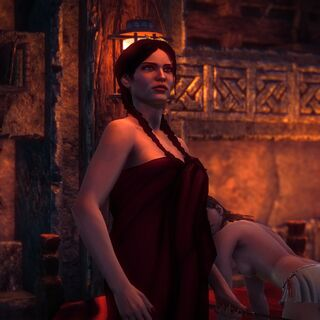 Cynthia, ah, entertaining Philippa (Geralt seems to keep walking in on them at awkward times).