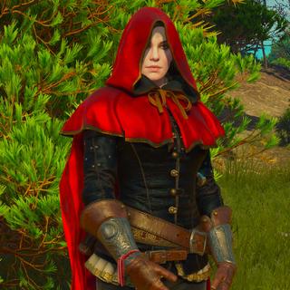 Wearing hood of Little Red Riding Hood.