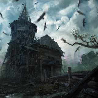 Swamp cemetery by day concept painting
