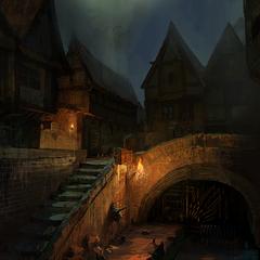 Quartiere del Tempio di notte - concept art