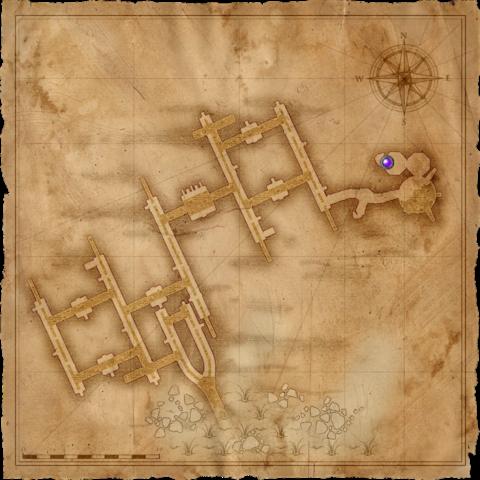 Mappa delle Fogne con il sito delle Rovine