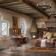 Concept art showing that when the rich folk retire to bed, they do so in bedrooms most opulent.