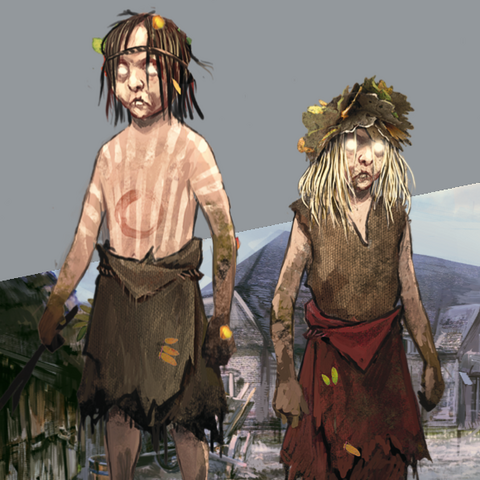 Female and male godling concept arts