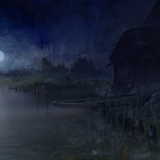 Lakeside at night concept painting