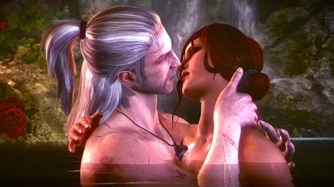Geralt and Triss in Elven Bath