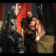 The Crinfrid Reavers in The Witcher 2, (left to right) Newboy, Geralt, Kennet, Desbrut