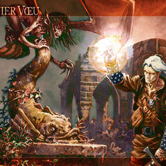 Vereena and Geralt on the French cover of <i>The Last Wish</i>