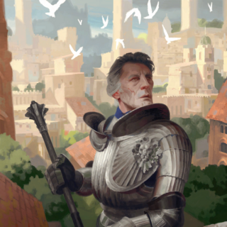 Cintrian knight with the city of Cintra in the background