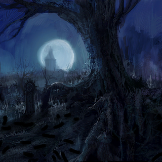 Swamp cemetery at night concept painting
