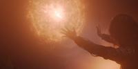 Netflix Yennefer stopping a fireball