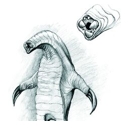 A concept art drawing of the bloedzuiger. The detail depicts its tooth-filled gullet
