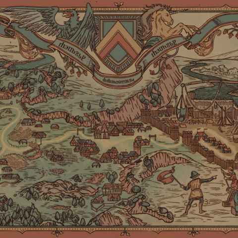 A tapestry representing the siege