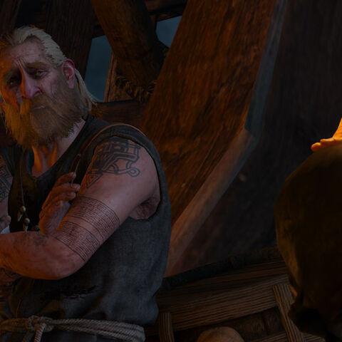 Harald talking to a dead skull