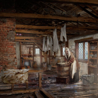The concept art of peasant dwelling in San Sebastian, shows the life of the downtrodden in all its wretched detail.