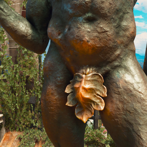 Close-up of the genitals on statue.
