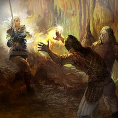 Javed wygrywa walkę na bagnach - przerywnik fabularny z końca aktu III (obok Magister)